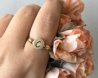 Brass Initial Ring - Custom Wire Wrapped Gold Ring - Great for Stacking! - Hand Stamped - Geometric // Minimalist - Bridesmaid Jewelry