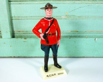Vintage Canadian Mountie Plastic Figure, RCMP Canada Souvenir, Mountie Cake Topper