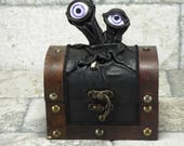 Mimic Monster Dungeons And Dragons Storage Desk Organizer Treasure Chest Trinket Stash Box Black Leather Harry Potter Labyrinth