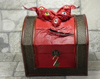Dungeons And Dragons Mimic Monster Wooden Box Red Leather Harry Potter Beholder Monster Desk Accessory Treasure Chest