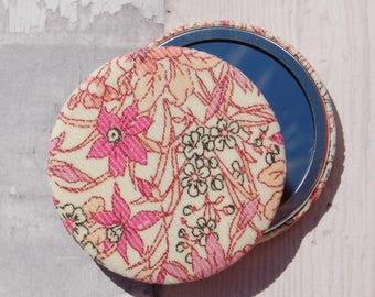 Liberty Fabric Covered Pocket Mirror Kingly Cord Ricardo Pink