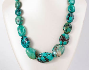 Vintage Necklace - Vintage Sterling Silver Turquoise Bead Necklace