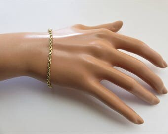 14K Solid Yellow Gold Rope Style Bracelet. 3.5 Grams, 7 Inches