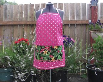 Pink polka dot cotton hostess apron