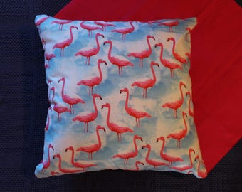 "Cushion cover print featuring pink flamingoes 45cm X 45cm (approx 18"" X 18"") 100% cotton  hand made"