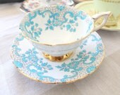 RARE VINTAGE, Footed, English Tea Cup & Saucer by Royal Stafford, Wide Mouth Cup, Embossed Chintz Pattern, Replacement China