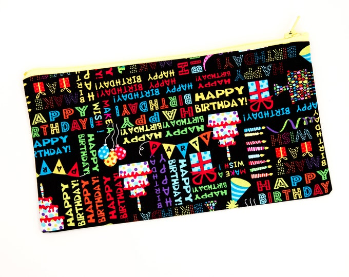 Featured listing image: Birthday Fabric Accessory Bag with Lining