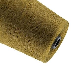 15%SALE Golden brown linen yarn natural linen  thread flax 0.5kg yarn crochet weaving yarn on tube