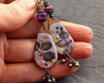 Floral dangle earrings, Whimsy earrings, amethyst earrings, artisan enameled earrings, flower earrings, bohemian chic by mollymoojewels