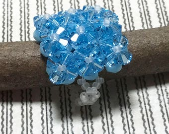 Crystal Beaded Ring Blue Beadwoven Ring Bicone Beaded Ring Czech Bead Ring Seed Beaded Ring Peyote Ring Beadwork Ring Beadwoven Ring