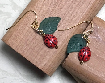 Lady Bug Earrings Red Ladybug Earrings Insect Bead Earrings Ladybug Earrings Garden Earrings Ladybug Jewelry Nature Earrings
