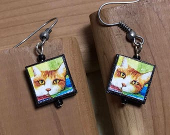 Cat Charm Earrings Kitty Cat Earrings Cat Dangle Earrings Orange Tiger Jewelry Feline Earrings Cat Tiger Earrings Cat Charm Dangles