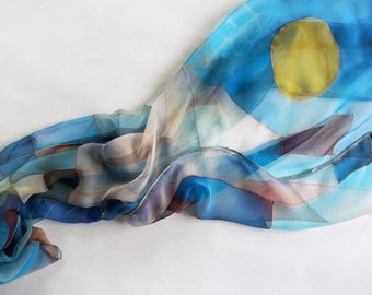 Blue chiffon scarf, square scarf handpainted, abstract scarves, art lover gift, silk accessories, women scarves - ready to ship