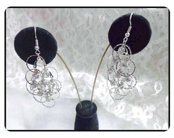 Silver Circles of  Sparkling Rhinestone Earrings -  Dangling Rhinestone Earrings -   E6017a-063017010