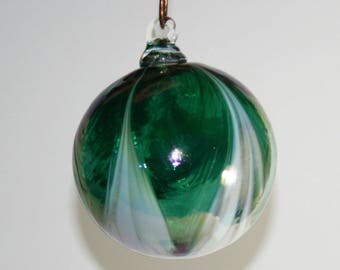 Hand Blown Glass Christmas Ornament - Iridescent Green & White Feathered