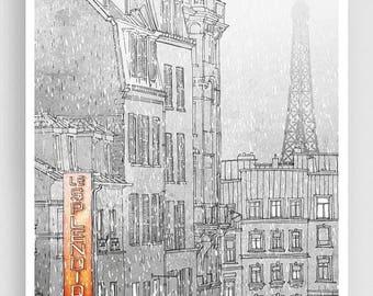 30% OFF SALE: Winter in Paris - Paris illustration (vertical) - Art illustration Art Poster Paris art Home decor Travel poster Grey wall art