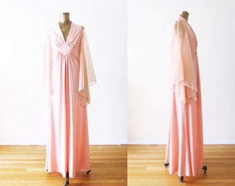 70s Dress / Angel Sleeve Dress / Pink Maxi Dress / Chiffon Dress / 1970s Maxi Dress / Lana Del Rey / Vintage Coral Dress Small