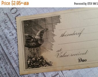 ON SALE 25% OFF Beautiful Unused 100 Year Old Antique Checks | Bird and Roses | Engraved