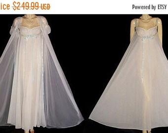 VALENTINES DAY SALE Vintage I Do Bridal Double Nylon Peignoir Nightgown Set Pleated Puff Sleeves Aqua Satin Ribbons vintage peignoir set whi