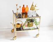 Brass bar cart, modern bar cart, bar cart vintage, mid century bar cart, rustic bar cart, vintage bar cart, bar serving cart, antique cart