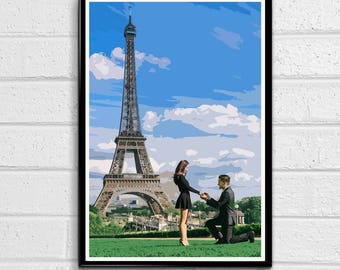 Love and the Eiffel Tower - Paris Landmark Pop Art Print and Poster France Monument Landmark Europe Travel Home Decor Canvas