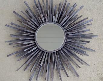 Dark Gray Reclaimed Wood Starburst Mirror, Grey driftwood Sunburst mirror READY TO SHIP