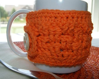 Coffee Cup Insulator Sleeve - Orange - Kitchen Accessory - Drinking Mug Wrap -  Basketweave Hand Crochet Design - Button Cup Cozy