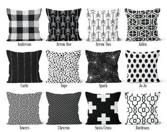 Black Pillow Cover, Decorative Throw Pillow, Euro Sham 16 x 16, 18 x 18, 20 x 20, 22 x 22, 24 x 24, 26 x 26