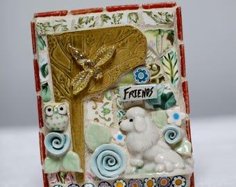 FRIENDS, POODLE, OWL mosaic art