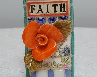 FAITH, mosaic wall art, gift, mosaic, mosaic art