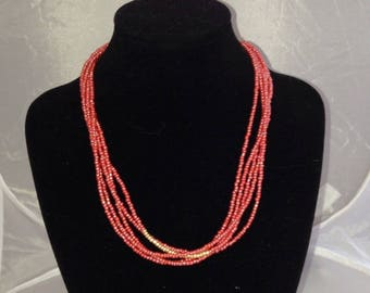 Necklace red glass beads & Golden