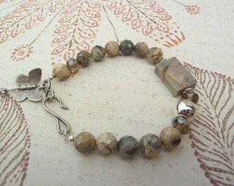 Rustic Bracelet Jasper Gemstone Bracelet Earthy Stone Jewellery Butterfly Charm Artisan Womens Gemstone Stacking Bracelets Boho Chic Earthy