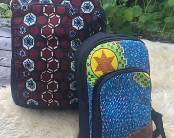 Handstitched Backpack made with african fabric