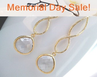 Cool infinity drop Earrings, Bridesmaid Gift Wedding Jewelry Bridesmaid Jewelry Glass Dangle Earrings, gift,Gemstone, April Birthstone
