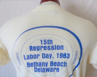 lol funny vintage 80's Institute for the Immature Regression Labor Day 1983 Bethany Beach cream graphic t-shirt blue back front logo medium