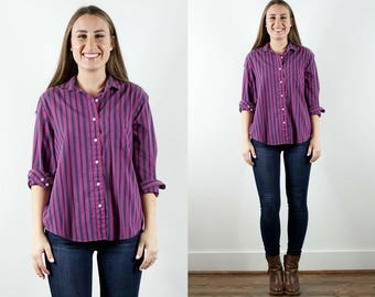 1990s Purple Striped Button Down