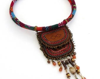 Necklace Plastron Camel/Orange - Suede, beads, rhinestones and tassels on ethnic cord