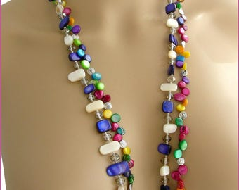 Multicolored /Sautoir - Pearl necklace, metal and Crystal
