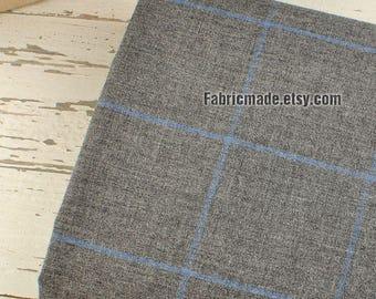 Dark Grey Gray Cotton Large Blue Yarn Dye Plaid Fabric- 1/2 Yard