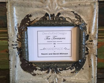 5 x 7 distressed off white with rust and metal color antique tin ceiling tile picture frame