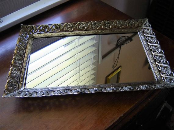 Vintage mirror tray filigree gold metal large wedding