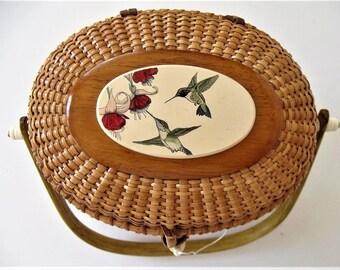 """Vintage Barlow Nantucket basket purse, Hummingbirds scrimshaw, signed, 8 1/2"""" x 7"""", pink floral scrimshaw, woven straw handbag, gift idea"""