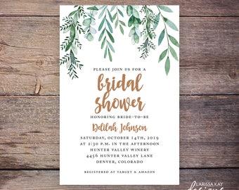 Garden Party Bridal Shower Invitation, Greenery Wedding Shower Invite, Botanical, Leaves, Wedding DiY Printable- Delilah