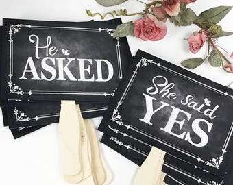 He asked, She said Yes Engagement Signs, engagement props, photo props, engagement sign, save the date photo props, engagement announcement