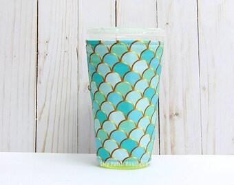 Medium Aqua Mint Mermaid Coffee Cozy, Aqua Mermaid Cup Sleeve, Iced Coffee Cozy, Cup Sleeve, Eco Friendly, Insulated Cup Sleeve,