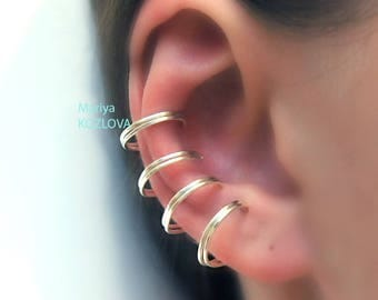No Piercing Four Rings One Row Cartilage Ear Cuff/multiple piercing imitation/fake faux piercing/ohrklemme ohrclip/ohr manschette/ohrringe
