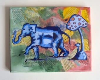 Colorful Elephant Collage Painting - Hipster Indie Art - Bright Bohemian Wall Art - Hippie Boho Decor - 8 x 10 Whimsical Nursery Art
