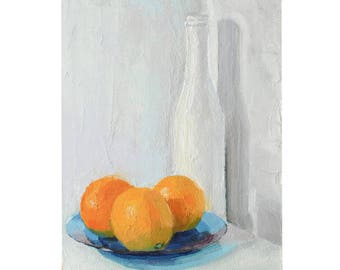Oranges, Plate and Bottle