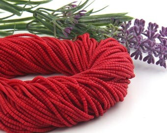 Deep Red, Heishi Afghan Stone Beads, Handcut, 1 strand - 13 inches, 2-2,5 mm // BD-015