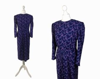 Vintage 80's Dress | Purple Floral Print Dress | Soft Rayon 80s Does 40s Dress | Med UK 14